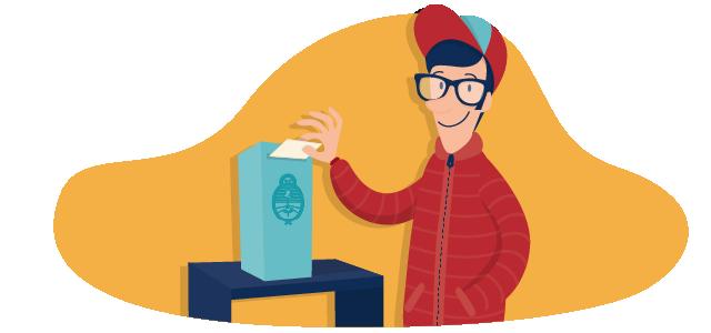 Persona insertando el sobre en la urna