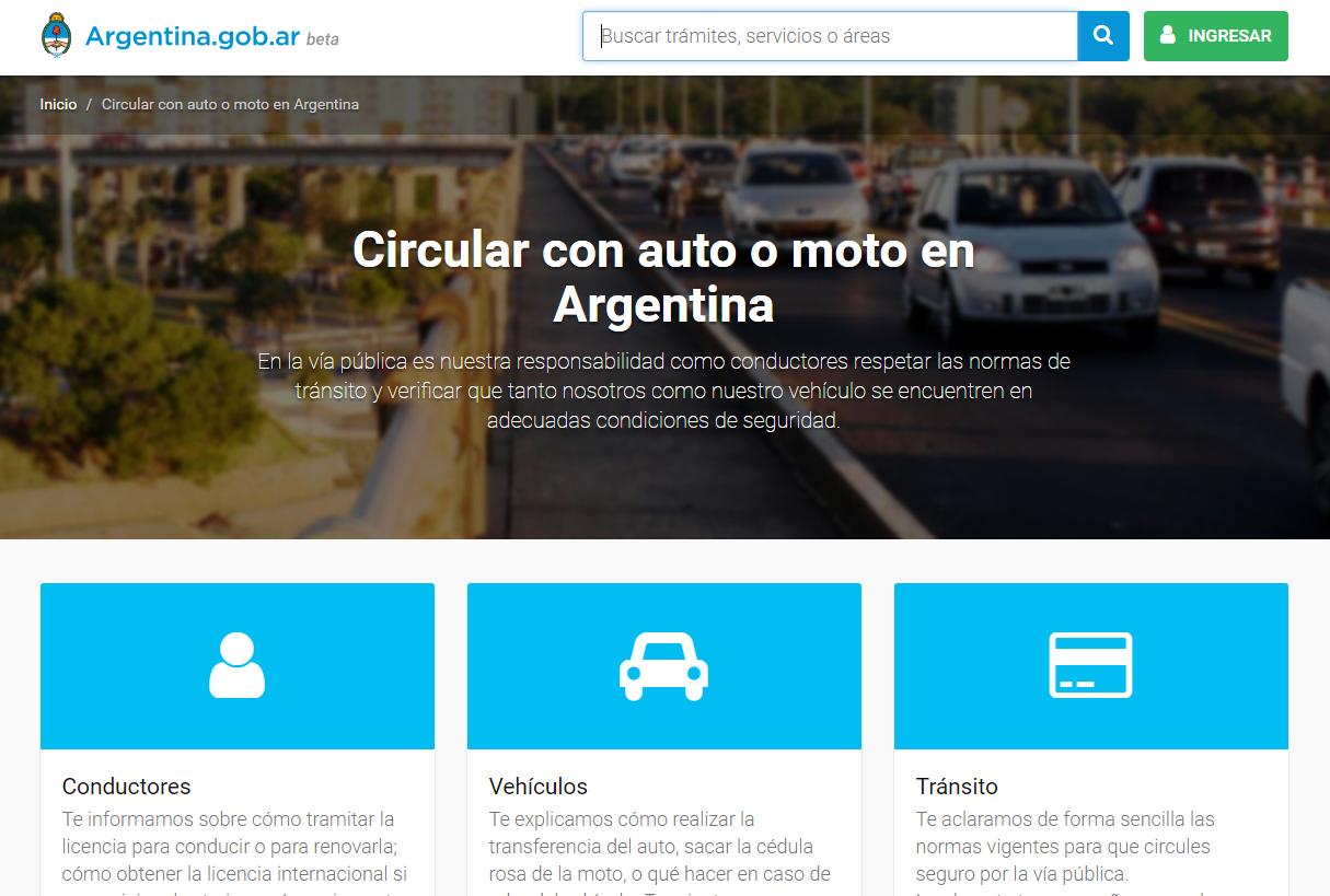 Web de cómo circular con auto o moto en Argentina