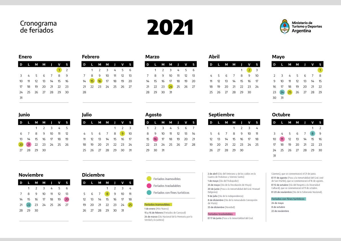 Calendario 2021 Argentina El Gobierno nacional anunció el cronograma de feriados del 2021