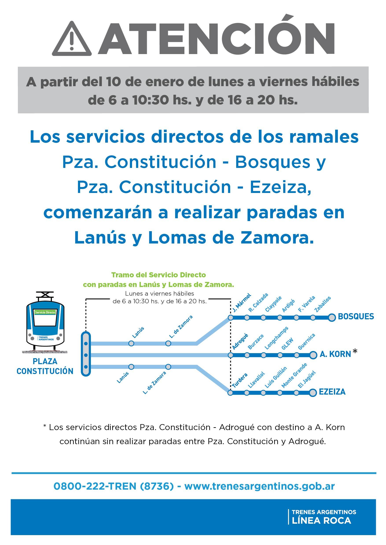 Línea Roca / Ramales Ezeiza A. Korn y Bosques, vía Temperley.