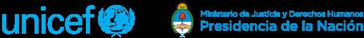 Logos institucionales de Unicef y Ministerio de Justicia de la República Argentina